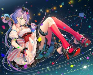 Rating: Safe Score: 106 Tags: bow choker dress garter gloves green_eyes long_hair luo_tianyi microphone purple_hair tidsean twintails vocaloid vocaloid_china wristwear User: BattlequeenYume
