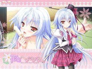 Rating: Safe Score: 125 Tags: blue_hair food fujisaki_mao hanairo_heptagram ice_cream long_hair lump_of_sugar moekibara_fumitake pantyhose school_uniform User: Wiresetc