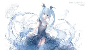 Rating: Safe Score: 62 Tags: aqua_eyes aqua_hair deep-sea_girl_(vocaloid) dress hatsune_miku jpeg_artifacts kuropekoe long_hair twintails vocaloid water User: luckyluna