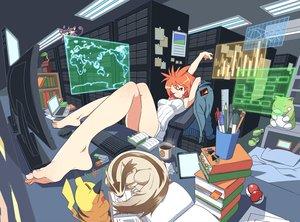 Rating: Safe Score: 178 Tags: ball barefoot bed book computer dress drink linoone orange_eyes orange_hair paper pikachu pokemon rattata short_hair tm_(artist) User: GreatGui