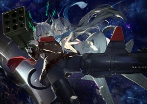 Rating: Safe Score: 102 Tags: 2girls blonde_hair eila_ilmatar_juutilainen gray_eyes long_hair saberiii sanya_v_litvyak scarf short_hair strike_witches tail white_hair User: Flandre93