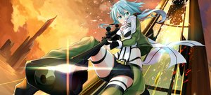 Rating: Safe Score: 97 Tags: blue_hair gochiwa green_eyes gun gun_gale_online shinon_(sao) shorts sunset sword_art_online weapon User: RyuZU