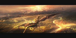 Rating: Safe Score: 47 Tags: blonde_hair cape dragon kvpk5428 landscape long_hair original scenic sky User: Dreista