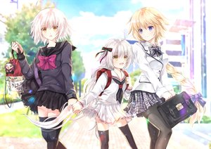 Rating: Safe Score: 63 Tags: blonde_hair blush bow braids clouds fate/apocrypha fate/grand_order fate_(series) iroha_(shiki) jeanne_d'arc_alter jeanne_d'arc_(fate) loli long_hair pantyhose ponytail purple_eyes seifuku short_hair skirt sky thighhighs white_hair yellow_eyes User: RyuZU