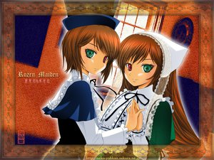 Rating: Safe Score: 8 Tags: 2girls bicolored_eyes jpeg_artifacts rozen_maiden souseiseki suiseiseki twins User: Oyashiro-sama