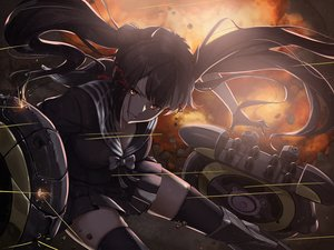 Rating: Safe Score: 40 Tags: black_hair c-eye close dark fang fire girls_frontline gloves long_hair ouroboros_(girls_frontline) red_eyes skirt thighhighs twintails zettai_ryouiki User: otaku_emmy