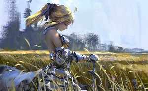 Rating: Safe Score: 326 Tags: armor artoria_pendragon_(all) blonde_hair fate_(series) fate/stay_night fate/unlimited_codes grass ponytail saber saber_lily sword weapon wlop User: Flandre93