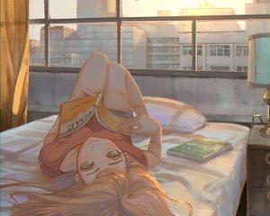 Rating: Safe Score: 115 Tags: aqua_eyes bed book building city cropped long_hair orange_hair original scenic sho_(shoichi-kokubun) sunset User: mattiasc02