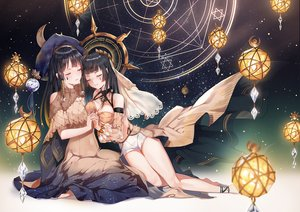 Rating: Safe Score: 138 Tags: 2girls barefoot black_hair breasts cleavage dress hat long_hair original shorts signed stars thighhighs yumaomi User: Eleanor