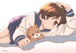 Rating: Safe Score: 29 Tags: animal blush brown_eyes brown_hair dog gradient hasegawa_fumi school_uniform short_hair signed skirt umiroku yuyushiki User: RyuZU