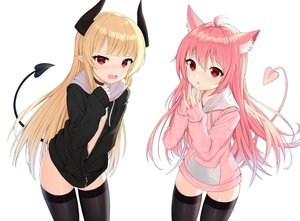 Rating: Safe Score: 111 Tags: animal_ears blonde_hair catgirl choker demon fang flat_chest hoodie horns long_hair no_bra original pink_hair pointed_ears red_eyes tail thighhighs tttanggvl white zettai_ryouiki User: Dreista