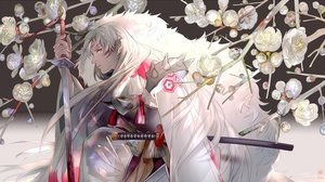 Rating: Safe Score: 47 Tags: all_male armor flowers inuyasha japanese_clothes katana kimono long_hair male pointed_ears saiga_tokihito sesshomaru sword tattoo watermark weapon white_hair yellow_eyes User: otaku_emmy