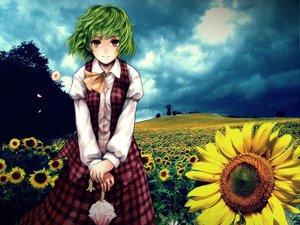 Rating: Safe Score: 52 Tags: dress flowers green_hair jpeg_artifacts kazami_yuuka red_eyes short_hair sunflower touhou umbrella User: majinjynxi