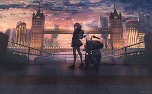 Rating: Safe Score: 53 Tags: brown_hair building city clouds hoodie motorcycle original pantyhose scenic skirt sky sunset watermark yu_ni_t User: BattlequeenYume