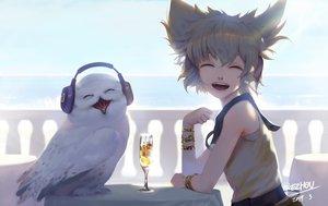 Rating: Safe Score: 57 Tags: animal bird blonde_hair drink green_hair headphones kezhou owl short_hair signed touhou toyosatomimi_no_miko wristwear User: sadodere-chan