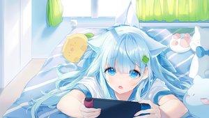 Rating: Safe Score: 79 Tags: a20_(atsumaru) aliasing animal_ears aqua_eyes aqua_hair bed catgirl game_console long_hair original pantyhose school_uniform User: BattlequeenYume