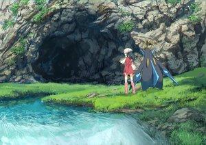 Rating: Safe Score: 40 Tags: black_eyes black_hair boots dress empoleon grass hat hikari_(pokemon) kneehighs pippi_(p3i2) pokemon scarf scenic short_hair water User: RyuZU