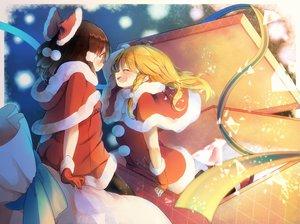 Rating: Safe Score: 98 Tags: 2girls blonde_hair blush bow brown_hair christmas gloves hakurei_reimu kirisame_marisa piyokichi santa_costume shoujo_ai touhou User: mattiasc02
