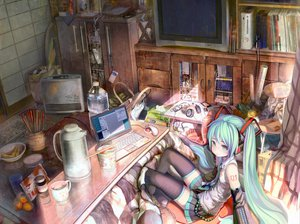 Rating: Safe Score: 259 Tags: aqua_hair blush book computer drink food fruit game_console green_eyes hatsune_miku headphones ipod kotatsu long_hair phone shirakaba skirt thighhighs tie twintails vocaloid User: Maho
