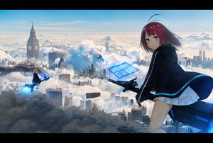 Rating: Safe Score: 35 Tags: airship aqua_eyes brown_hair building city clouds hoodie original red_hair scenic short_hair skirt sky tagme_(artist) User: RyuZU