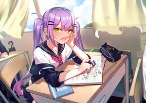 Rating: Safe Score: 65 Tags: book green_eyes hololive long_hair mr.lime purple_hair school_uniform tokoyami_towa twintails User: BattlequeenYume