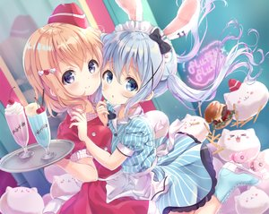 Rating: Safe Score: 83 Tags: 2girls animal_ears apron blonde_hair blue_eyes blue_hair blush bunny_ears bunnygirl cherry dress drink food fruit gochuumon_wa_usagi_desu_ka? hat headdress hoto_cocoa kafuu_chino long_hair maid neki_(wakiko) orange_hair purple_eyes short_hair tippy_(gochiusa) twintails waitress User: BattlequeenYume