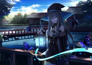Rating: Safe Score: 64 Tags: aqua_eyes building butterfly clouds dark green_hair hat japanese_clothes long_hair mikisai original scenic sky water witch witch_hat User: BattlequeenYume