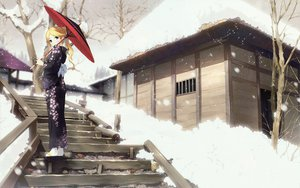 Rating: Safe Score: 81 Tags: blonde_hair japanese_clothes kantoku kimura_kaere sayonara_zetsubou_sensei snow umbrella User: meccrain