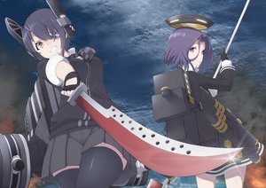 Rating: Safe Score: 89 Tags: 2girls anthropomorphism clouds eyepatch gloves halo headdress kantai_collection mku purple_eyes purple_hair short_hair skirt sky spear sword tatsuta_(kancolle) tenryuu_(kancolle) thighhighs tie weapon yellow_eyes User: luckyluna