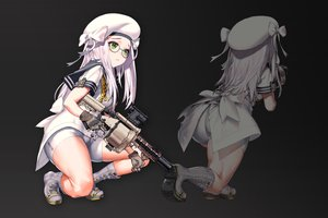 Rating: Safe Score: 64 Tags: ass black boots bow glasses gloves green_eyes gun hat kkuem long_hair ribbons school_uniform shorts uniform weapon white_hair User: RyuZU