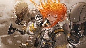 Rating: Safe Score: 56 Tags: bodysuit gloves long_hair makai_no_juumin mask orange_eyes orange_hair original weapon User: Dreista