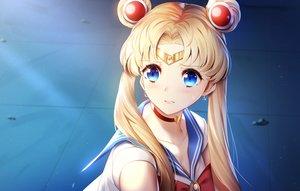 Rating: Safe Score: 49 Tags: aqua_eyes blonde_hair blush breasts choker cleavage close headband long_hair parody sailor_moon sailor_moon_(character) school_uniform tsukimaru tsukino_usagi twintails User: Dreista