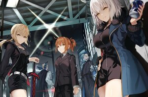 Rating: Safe Score: 28 Tags: artoria_pendragon_(all) blonde_hair blue_eyes blue_hair brown_eyes brown_hair building city fate/grand_order fate_(series) fujimaru_ritsuka_(female) gloves group jeanne_d'arc_alter jeanne_d'arc_(fate) male mocha_(mokaapolka) night ribbons saber saber_alter sherlock_holmes_(fate) short_hair shorts sword weapon white_hair yellow_eyes User: Maboroshi