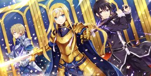 Rating: Safe Score: 97 Tags: alice_schuberg armor black_eyes black_hair blonde_hair blue_eyes cape eugeo gabiran headband kirigaya_kazuto long_hair male sword sword_art_online weapon User: RyuZU