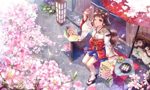 Rating: Safe Score: 31 Tags: bow brown_hair cat_smile cherry_blossoms drink fang flowers food japanese_clothes kimono original petals purple_eyes ryuu32 short_hair socks tail umbrella wink User: RyuZU