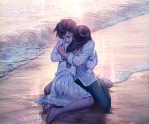 Rating: Safe Score: 64 Tags: barefoot beach black_hair cropped foo_midori hug long_hair male original polychromatic shirt short_hair skirt water User: otaku_emmy