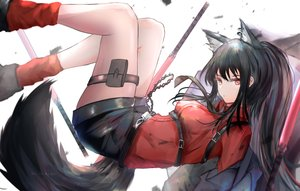 Rating: Safe Score: 39 Tags: animal_ears arknights black_hair garter garter_belt kayjae long_hair ponytail shirt shorts tail texas_(arknights) tie watermark User: BattlequeenYume