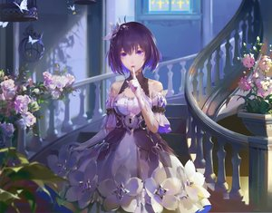 Rating: Safe Score: 90 Tags: a-m-one butterfly cage cropped dress flowers gloves honkai_impact purple_eyes purple_hair seele_vollerei short_hair stairs User: BattlequeenYume