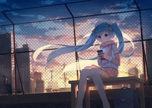 Rating: Safe Score: 51 Tags: blue_eyes blue_hair building city clouds hatsune_miku long_hair phone scarf stars sunset twintails vocaloid yue_yue User: FormX