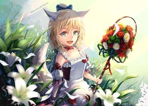 Rating: Safe Score: 46 Tags: animal_ears apron blade_&_soul blonde_hair bow dress fang flowers petals resau short_hair tagme_(character) tail watermark wings User: RyuZU
