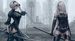 Rating: Safe Score: 221 Tags: 2girls breasts elbow_gloves gloves gray_hair green_eyes headband long_hair mirco_cabbia nier nier:_automata rain realistic short_hair shorts signed sword thighhighs water watermark weapon yorha_unit_no._2_type_a yorha_unit_no._2_type_b User: RyuZU