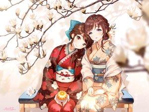 Rating: Safe Score: 54 Tags: 2girls ancotaku ball blue_eyes brown_eyes brown_hair flowers japanese_clothes kimono long_hair original ponytail short_hair signed User: RyuZU