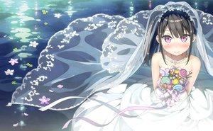 Rating: Safe Score: 124 Tags: black_hair dress flowers kantoku long_hair necklace petals pink_eyes ponytail ribbons scan short_hair third-party_edit wedding_attire User: Dummy