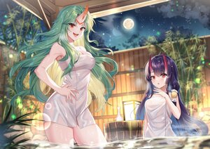 Rating: Safe Score: 62 Tags: 2girls bubbles gejigejier green_hair horns long_hair moon night onsen purple_hair red_eyes sky towel water User: BattlequeenYume