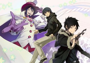 Rating: Safe Score: 7 Tags: all_male ao_no_exorcist araragi_koyomi bakemonogatari durarara!! male mephisto_pheles monogatari_(series) nyoronyoro orihara_izaya User: RyuZU