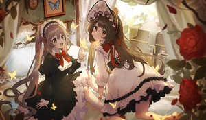 Rating: Safe Score: 52 Tags: 2girls bed bow brown_eyes brown_hair butterfly corset doll dress flowers goth-loli hat lolita_fashion long_hair original tagme_(artist) twintails User: BattlequeenYume