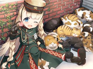 Rating: Safe Score: 48 Tags: animal anthropomorphism blonde_hair blue_eyes boots cat cura gloves hat iyo_(rail_romanesque) loli long_hair rail_romanesque uniform User: Nepcoheart