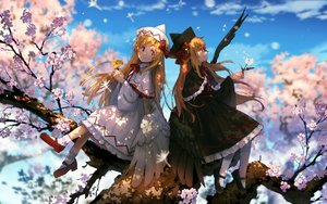 Rating: Safe Score: 51 Tags: blonde_hair cherry_blossoms clouds dress eho_(icbm) flowers hat lily_black lily_white long_hair pantyhose red_eyes sky socks touhou tree wings User: BattlequeenYume