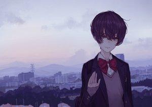 Rating: Safe Score: 21 Tags: black_hair bow building city dark original school_uniform short_hair yasukura_(shibu11) User: RyuZU