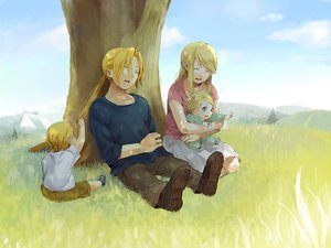Rating: Safe Score: 29 Tags: blonde_hair edward_elric fullmetal_alchemist grass tree winry_rockbell User: w7382001